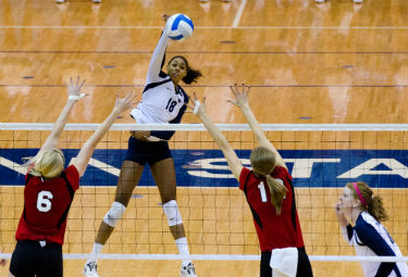 NCAA women's volleyball games are streaming live online for free.
