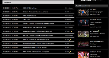 Rabbit TV Live Event Sports Schedule